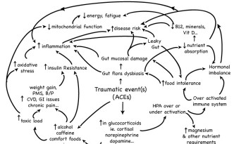 A simplified illustration of how unresolved emotional trauma can impact your health.